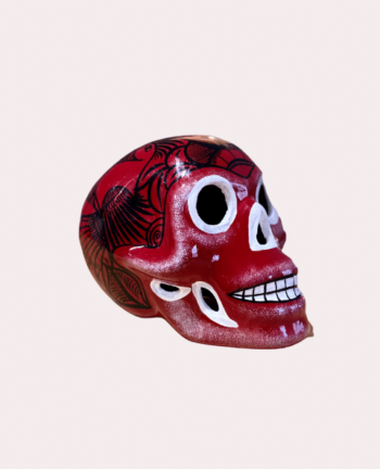 Crâne mexicain en céramique rouge foncé - Tienda Elena - Déco du Mexique